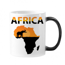 Africa Map Savanna Elephant Wildlife Morphing Heat Sensitive Changing Color Mug Cup Gift Milk Coffee With Handles 350 ml