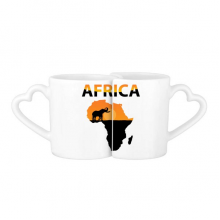 Africa Map Savanna Elephant Wildlife Lovers' Mug Lover Mugs Set White Pottery Ceramic Cup Gift with Handles