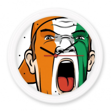 Coate d'Ivoire National Flag Facial Painting Makeup Mask Screaming Cap Silent Non-ticking Round Wall Decorative Clock Battery-operated Clocks Gift Home Decal
