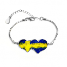 Swedish Abstract Flag Pattern Double Hearts Shape Round-Cut Cubic Chain Bracelet Love Gifts