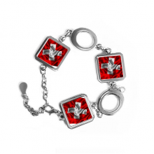 Silk Texture Switzerland Abstract Flag Pattern Square Shape Metal Bracelet Love Gifts Jewelry With Chain Decoration