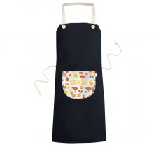Spain Flamenco Music Food Cooking Kitchen Black Bib Aprons With Pocket for Women Men Chef Gifts
