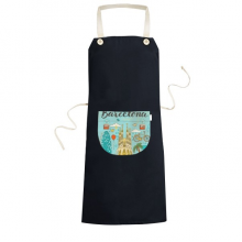 Barcelona Spanish Sagrada Familia Cooking Kitchen Black Bib Aprons With Pocket for Women Men Chef Gifts