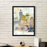 World Travel Landmark Big Ben Leaning Tower of Pisa Simple Picture Frame Art Prints Paintings Home Wall Decal Gift