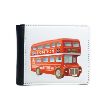Britain UK London Red Double Decker Bus Flip Bifold Faux Leather Wallet  Multi-Function Card Purse Gift