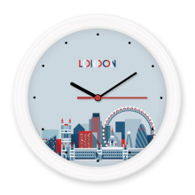 Britain UK London Eye Bridge Tower Blue Silent Non-ticking Round Wall Decorative Clock Battery-operated Clocks Gift Home Decal