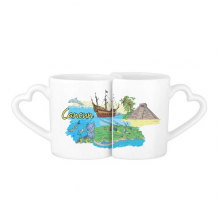City Cancun Mexico Island Mayan Temple Watercolor Lovers' Mug Lover Mugs Set White Pottery Ceramic Cup Gift with Handles
