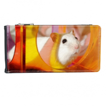 White Rat Animal Pet Game Toys Multi-Card Faux Leather Rectangle Wallet Card Purse Gift