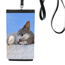 Kitty Cat Pet Relax Sleep Animal Adorable Faux Leather Smartphone Hanging Purse Black Phone Wallet Gift