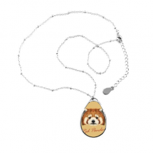 Chestnut Wild Red Panda Animal Teardrop Shape Pendant Necklace Jewelry With Chain Decoration Gift