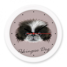 Black and white Cute Pekingese Dog Pet Animal Silent Non-ticking Round Wall Decorative Clock Battery-operated Clocks Gift Home Decal