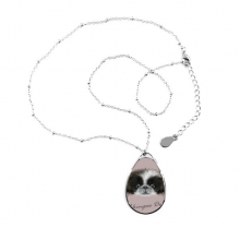 Black and white Cute Pekingese Dog Pet Animal Teardrop Shape Pendant Necklace Jewelry With Chain Decoration Gift