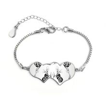 Fluffy Giant Panda Animal Portrait Double Hearts Shape Round-Cut Cubic Chain Bracelet Love Gifts