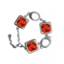 Japan Red Goldfish Circle Portrait Square Shape Metal Bracelet Love Gifts Jewelry With Chain Decoration