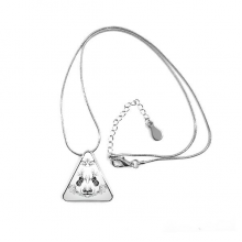 Fluffy Giant Panda Animal Portrait Triangle Shape Pendant Necklace Jewelry With Chain Decoration Gift
