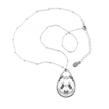 Fluffy Giant Panda Animal Portrait Teardrop Shape Pendant Necklace Jewelry With Chain Decoration Gift