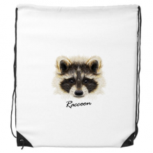 Little Mischievous Brown Raccoon Animal Drawstring Backpack Shopping Gift Sports Bags