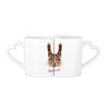 Little Brown Long Ears Squirrel Animal Lovers' Mug Lover Mugs Set White Pottery Ceramic Cup Gift with Handles