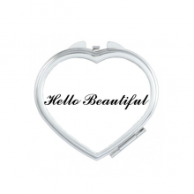 Hello Beautiful Quote Heart Compact Makeup Pocket Mirror Portable Cute Small Hand Mirrors Gift