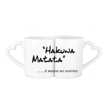 No worries Quote Lovers' Mug Lover Mugs Set White Pottery Ceramic Cup Gift with Handles