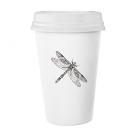 Dragonfly Animal Portrait Sketch Classic Mug White Pottery Ceramic Cup Gift 350 ml
