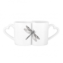 Dragonfly Animal Portrait Sketch Lovers' Mug Lover Mugs Set White Pottery Ceramic Cup Gift with Handles