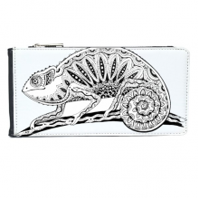 Long Tail Lizard Animal Portrait Sketch Multi-Card Faux Leather Rectangle Wallet Card Purse Gift