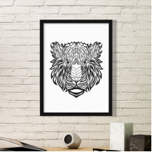 Strong Lion Animal Portrait Sketch Simple Picture Frame Art Prints Paintings Home Wall Decal Gift