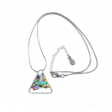 Guantanamo Trinidad Cuba Graffiti Triangle Shape Pendant Necklace Jewelry With Chain Decoration Gift