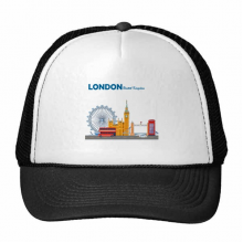 London Eye Double-Decker Buses Graffiti Trucker Hat Baseball Cap Nylon Mesh Hat Cool Children Hat Adjustable Cap Gift