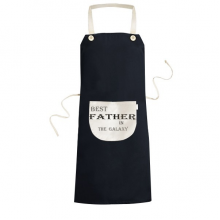Best Dad in the Galaxy Festival Quote Cooking Kitchen Black Bib Aprons With Pocket for Women Men Chef Gifts