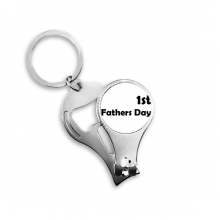 1st Father's Day Festival Quote Metal Key Chain Ring Multi-function Nail Clippers Bottle Opener Car Keychain Best Charm Gift