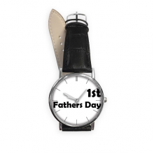 1st Father's Day Festival Quote Quartz Analog Wrist Business Casual Watch with Stainless Steel Case Gift