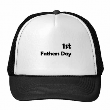 1st Father's Day Festival Quote Trucker Hat Baseball Cap Nylon Mesh Hat Cool Children Hat Adjustable Cap Gift