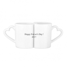 2017 Happy Father Day Festival Quote Lovers' Mug Lover Mugs Set White Pottery Ceramic Cup Gift with Handles
