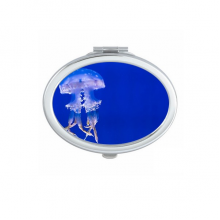 Ocean Jellyfish Science Nature Picture Oval Compact Makeup Pocket Mirror Portable Cute Small Hand Mirrors Gift
