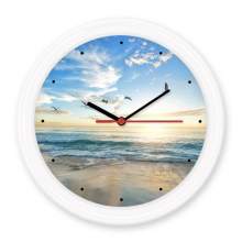 Ocean Sand Beach Bird Sea Picture Silent Non-ticking Round Wall Decorative Clock Battery-operated Clocks Gift Home Decal