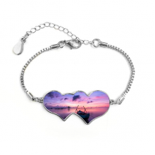 Ocean Water Sea Boat Science Nature Picture Double Hearts Shape Round-Cut Cubic Chain Bracelet Love Gifts