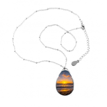 Ocean Water Sea Beach Science Nature Picture Teardrop Shape Pendant Necklace Jewelry With Chain Decoration Gift