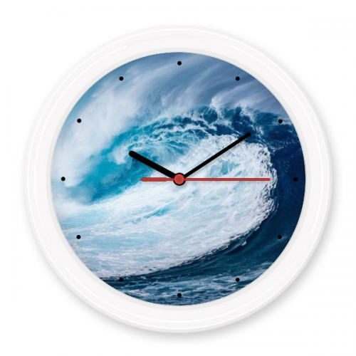 White Wave Sea Water Science Nature Picture Silent Non-ticking Round Wall Decorative Clock Battery-operated Clocks Gift Home Decal