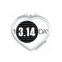 3.14 Pi Day Anniversary Heart Compact Makeup Pocket Mirror Portable Cute Small Hand Mirrors Gift