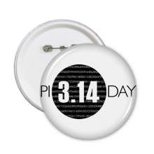 3.14 Pi Day Anniversary Round Pins Badge Button Clothing Decoration Gift 5pcs