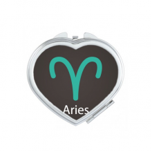 March April Aries Constellation Pattern Heart Compact Makeup Pocket Mirror Portable Cute Small Hand Mirrors Gift