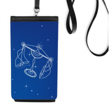 Star Universe Libra Constellation Pattern Faux Leather Smartphone Hanging Purse Black Phone Wallet Gift