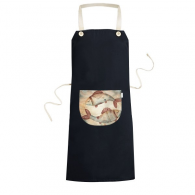 March Pisces Constellation Zodiac Cooking Kitchen Black Bib Aprons With Pocket for Women Men Chef Gifts