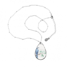 Branch Leaf Blue Parrot Teardrop Shape Pendant Necklace Jewelry With Chain Decoration Gift