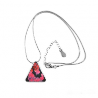 Cyprinoid Red Pink Purple Tail Triangle Shape Pendant Necklace Jewelry With Chain Decoration Gift