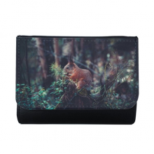Cute Squirrel Forestry Science Nature Scenery Multi-Function Faux Leather Wallet Card Purse Gift