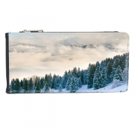 Snow Forestry Science Nature Scenery Multi-Card Faux Leather Rectangle Wallet Card Purse Gift