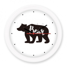 Bear Black And White Animal Silent Non-ticking Round Wall Decorative Clock Battery-operated Clocks Gift Home Decal